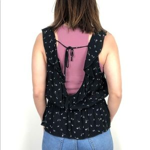 American Eagle Outfitters Tops - American Eagle black floral flowy tank top